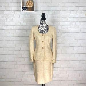 Ellen Tracy | Metallic Gold Skirt Suit Set